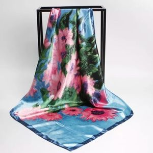 """Accessories - Satin Floral Scarf 35"""" x 35"""""""